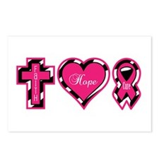 Pink Zebra Faith Hope Cure Postcards (Package of 8