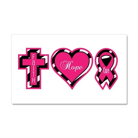 Pink Zebra Faith Hope Cure Car Magnet 20 x 12