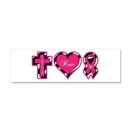 Pink Zebra Faith Hope Cure Car Magnet 10 x 3