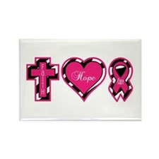 Pink Zebra Faith Hope Cure Rectangle Magnet