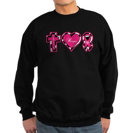 Pink Zebra Faith Hope Cure Sweatshirt (dark)
