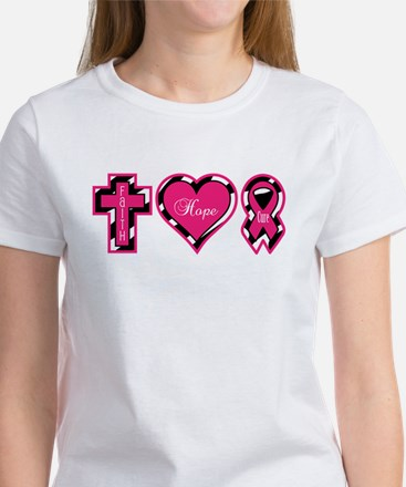 Pink Zebra Faith Hope Cure Women's T-Shirt