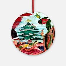 Santa Mermaid under the Sea Ornament (Round)