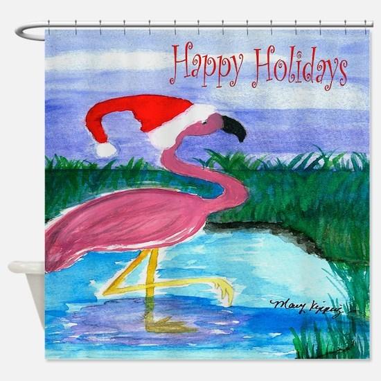 Santa Flamingo Shower Curtain