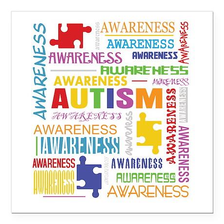 "Autism Awareness Collage Square Car Magnet 3"" x 3"""