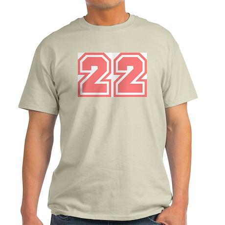 Varsity Uniform Number 22 (Pink) Ash Grey T-Shirt