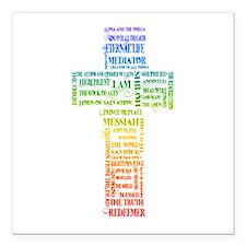 "Names of Jesus Cross Square Car Magnet 3"" x 3"""