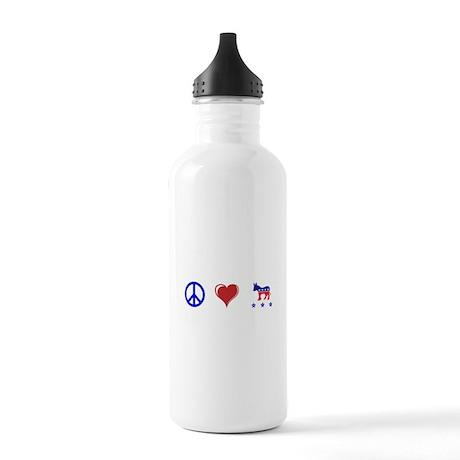 Peace, love Democrat Pride Stainless Water Bottle