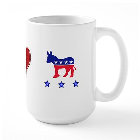 Peace, love Democrat Pride Large Mug