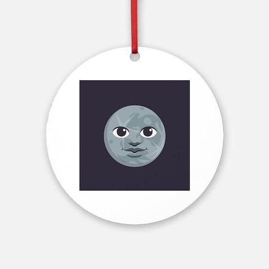 Moon Emoji Round Ornament
