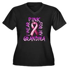 I Wear Pink for my Grandma Women's Plus Size V-Nec