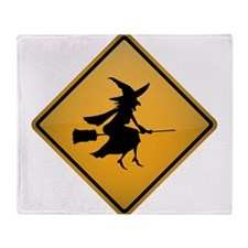 CAUTION, Low Flying Witches Throw Blanket