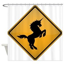 Unicorn Warning Sign Shower Curtain