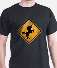 Unicorn Warning Sign T-Shirt