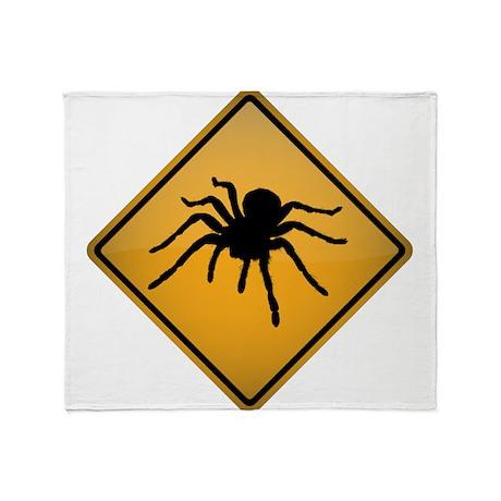 Tarantula Warning Sign Throw Blanket