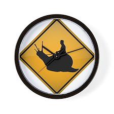Snail Riding Warning Sign Wall Clock
