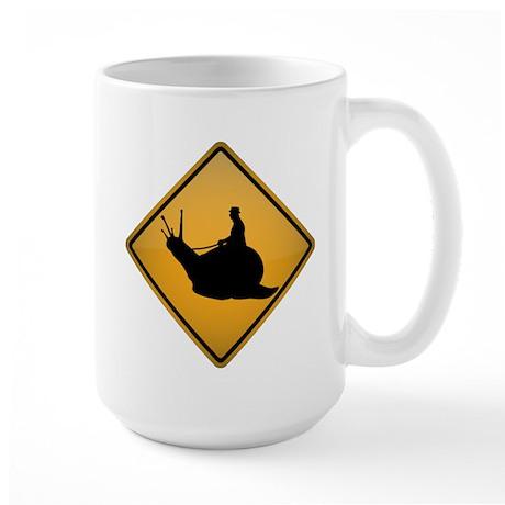 Snail Riding Warning Sign Large Mug