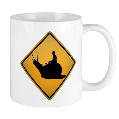 Snail Riding Warning Sign Mug