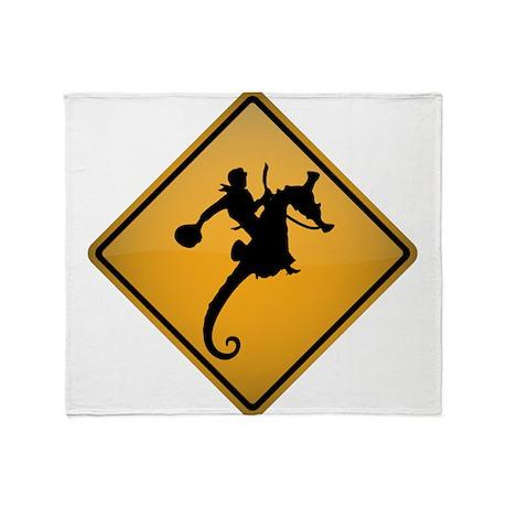 Seahorse Rodeo Warning Sign Throw Blanket