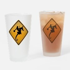 Seahorse Rodeo Warning Sign Drinking Glass