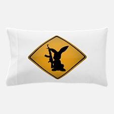 Rabbit with Gun Warning Sign Pillow Case