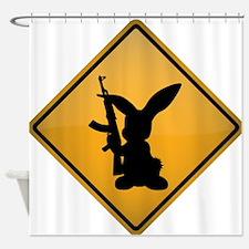 Rabbit with Gun Warning Sign Shower Curtain