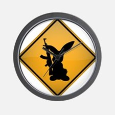 Rabbit with Gun Warning Sign Wall Clock