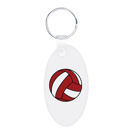 Volleyball Aluminum Oval Keychain