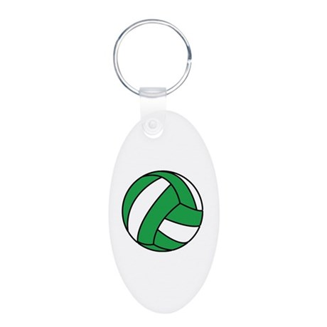 Volleyball Aluminum Oval Keychain