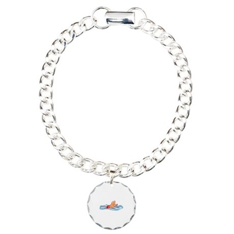 Swimming Charm Bracelet, One Charm
