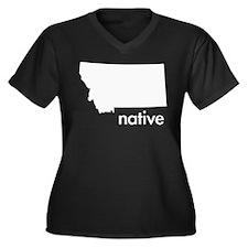 MTnative Women's Plus Size V-Neck Dark T-Shirt