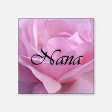 "Nana Pink Rose Square Sticker 3"" x 3"""