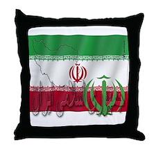 Silky Flag Iran (Arabic) Throw Pillow