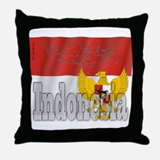 Silky Flag of Indonesia Throw Pillow