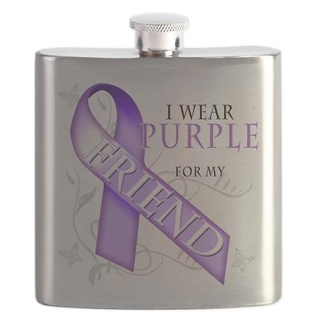 I Wear Purple for my Friend.png Flask