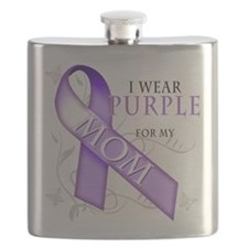 I Wear Purple for my Mom.png Flask
