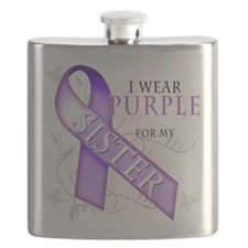 I Wear Purple for my Sister.png Flask