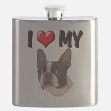 I Love My Boston Terrier.png Flask
