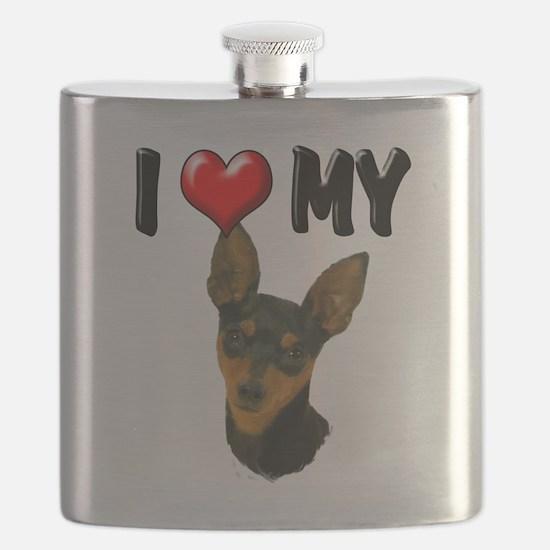 I Love My Min Pin.png Flask