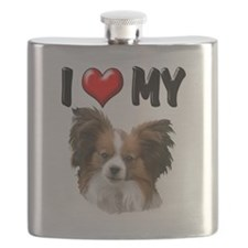 I Love My Papillion.png Flask