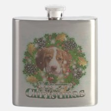 Merry Christmas Brittany Spaniel.png Flask