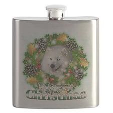 Merry Christmas Samoyed.png Flask