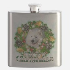 Merry Christmas Samoyed.png Flask