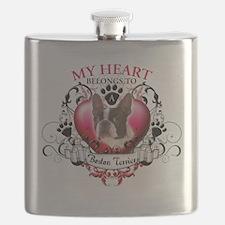 My Heart Belongs to a Boston Terrier.png Flask
