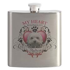 My Heart Belongs to a Maltese.png Flask