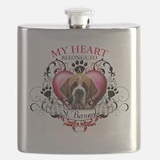 My Heart Belongs to a St Bernard.png Flask