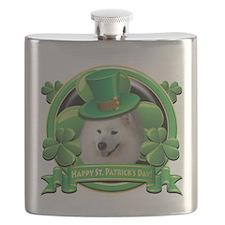 Happy St Patricks Day Samoyed.png Flask