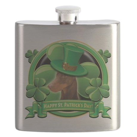 Happy St Patricks Day Doberman.png Flask