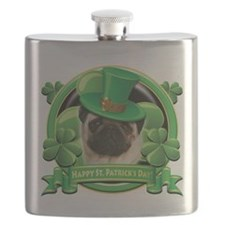 Happy St Patricks Day Pug.png Flask