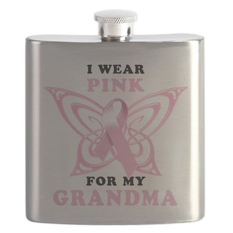 2-I Wear Pink for my Grandma.png Flask